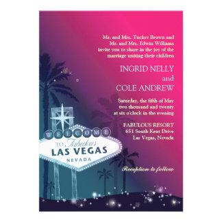 Fuchsia Sea Green Las Vegas Nevada Wedding Invite