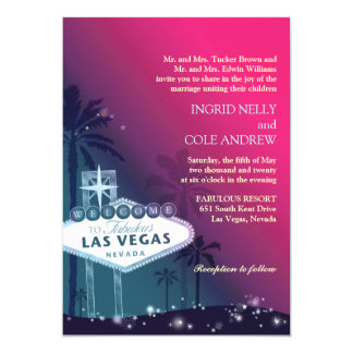 "Fuchsia, Sea Green Las Vegas Nevada Wedding Invite 5"" X 7"" Invitation Card"