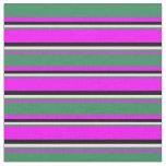 [ Thumbnail: Fuchsia, Sea Green, Light Yellow & Black Pattern Fabric ]