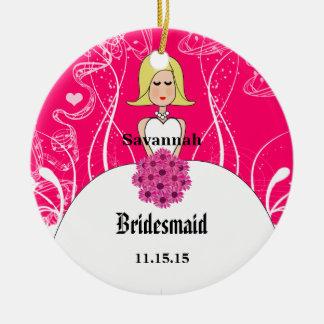 Fuchsia Short Blonde Hair Gown Bridesmaid Ornament