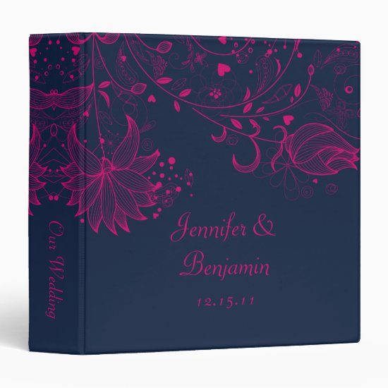 Fuchsia Sketched Flowers on Navy Wedding Album 3 Ring Binder