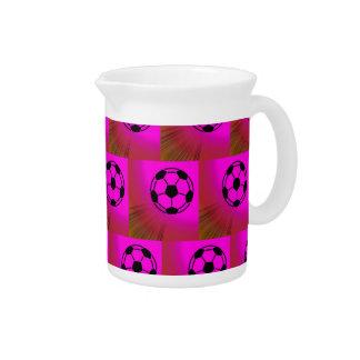 Fuchsia soccer balls beverage pitchers
