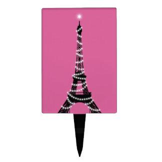 Fuchsia Sparkling Eiffel Tower Cake Pick