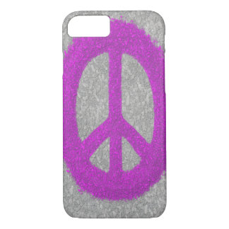 Fuchsia Splat Painted Peace Sign iPhone 7 Case