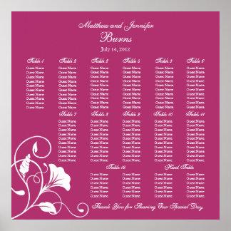 Fuchsia Square Wedding Reception Seating Chart