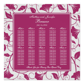 Fuchsia Square Wedding Reception Seating Chart Print