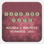 Fuchsia Steampunk Keys Save the Date Stickers
