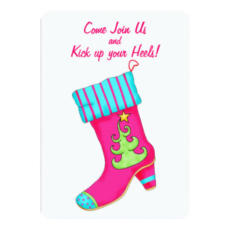 Fuchsia Turquoise Boot Stocking Christmas Party Card