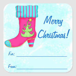 Fuchsia Turquoise Merry Christmas Boot Square Stickers