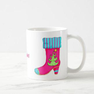 Fuchsia Turquoise Merry Christmas Boot Stocking Coffee Mug