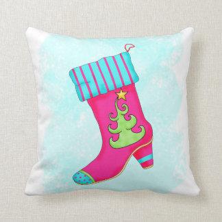 Fuchsia Turquoise Merry Christmas Boot Stocking Pillow