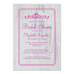 Fuchsia Vintage Barn Wood Bridal Shower Invitation