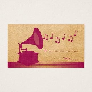 Fuchsia Vintage Gramophone Place Card