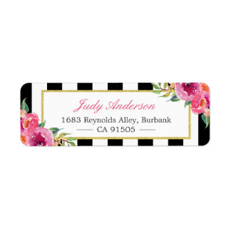 Fuchsia Watercolor Floral | Modern Purple Red Pink Label