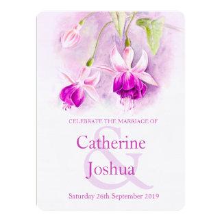 Fuchsia watercolor purple pink wedding invite