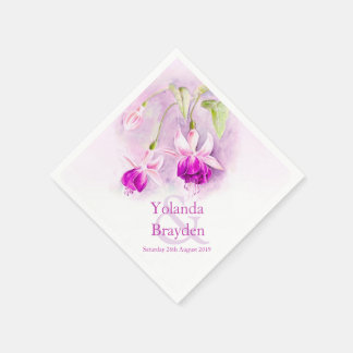 Fuchsia watercolor purple pink wedding napkins