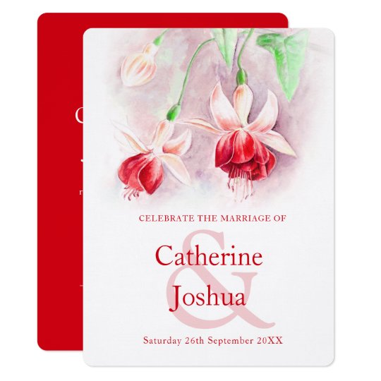 Fuchsia Watercolor Red Pink Art Wedding Invitation