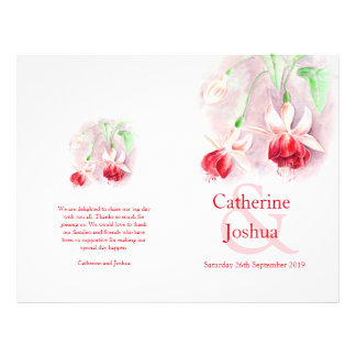 Fuchsia watercolor red pink Wedding Programme Flyer