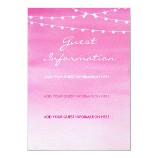 Fuchsia Watercolor String Lights Guest Information Card