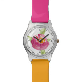 Fuchsia Watercolor Wildflowers Wrist Watches