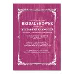 Fuchsia Western Barn Wood Bridal Shower Invitation