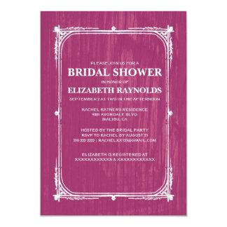 """Fuchsia Western Barn Wood Bridal Shower Invitation 5"""" X 7"""" Invitation Card"""