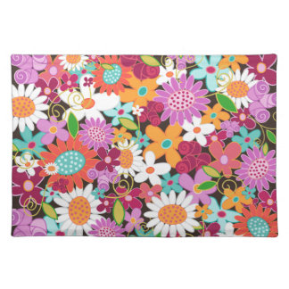 Fuchsia Whimsical Spring Flowers Garden Floral Cloth Placemat