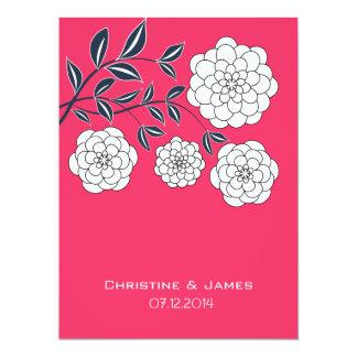 Fuchsia white and navy floral invitation