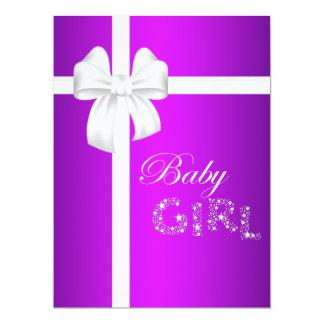 Fuchsia White Bow Baby Girl Card