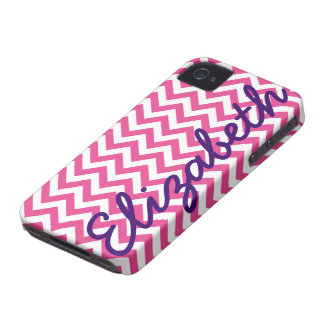 Fuchsia White Chevron Pattern iPhone 4 Case