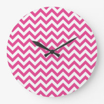 Fuchsia White Chevron Pattern Large Clock