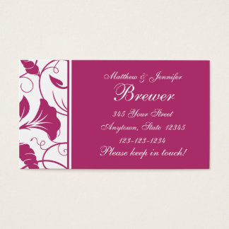 Fuchsia & White Floral Change of Address Cards