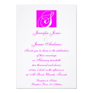 Fuchsia White Monogram S Wedding Invitation