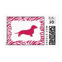 Fuchsia Zebra Stripe Dachshund Stamps
