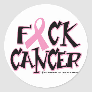 Fuck Breast Cancer Classic Round Sticker