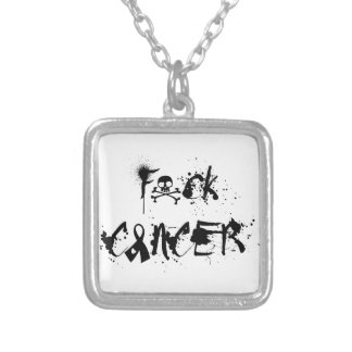 Fuck Cancer Splat Design Silver Plated Necklace