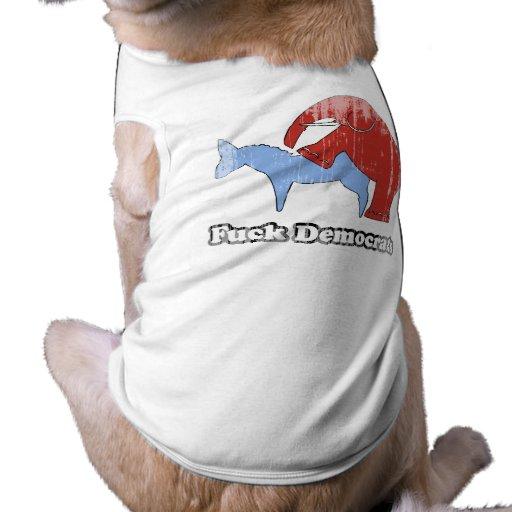 Fuck Democrats Faded.png Doggie T-shirt