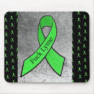 Fuck Lyme Disease Mouse Pad with Awareness Ribbons
