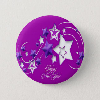 Fucshia and Purple Happy New Year Shooting Stars Button