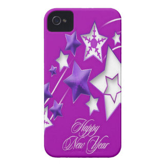 Fucshia and Purple Happy New Year Shooting Stars Case-Mate iPhone 4 Case