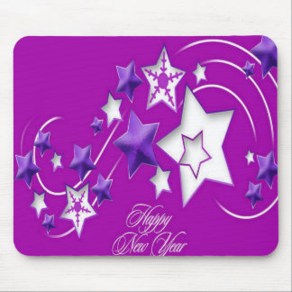 Fucshia and Purple Happy New Year Shooting Stars Mouse Pad