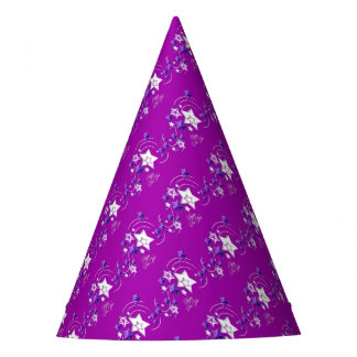 Fucshia and Purple Happy New Year Shooting Stars Party Hat