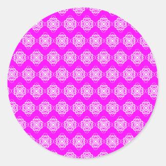 Fucshia and White Modern Decorative Links Classic Round Sticker