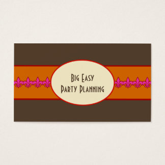 Fucshia Orange Retro Fleur de Lis Business Card