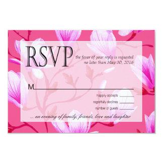 """Fucsia de RSVP el   del jardín de flores de la Invitación 3.5"""" X 5"""""""