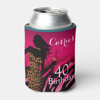Fucsia del cumpleaños el | de la cebra del enfriador de latas