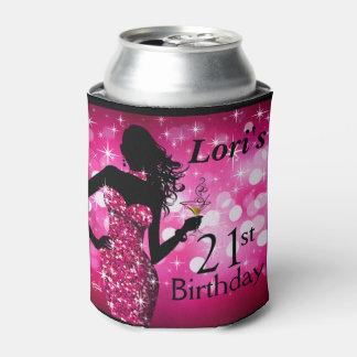 Fucsia del cumpleaños el | de la chispa de Bling Enfriador De Latas