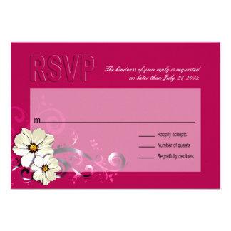 Fucsia floral adornado de RSVP el del Flourish Comunicados Personalizados