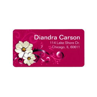 Fucsia floral adornado del Flourish el | Etiquetas De Dirección