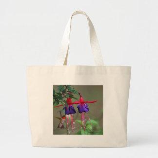 Fucsia y colibrí bolsa tela grande